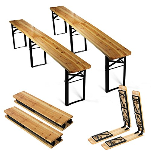 2 x Bierbank Holz klappbar 220cm als Set Bierzeltbank Klappbank robust stabil kompakt universell verwendbar