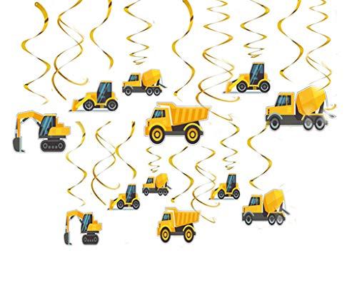 (MAFENT 30 Karat Gelb Bagger LKW Constuction Auto Geburtstag Hängedeko Dekoration für Kleinkinder Jungen Mädchen Transport Motto Geburtstag Party Supplies)