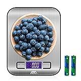 Bilancia digitale da cucina,Adoric Bilancia digitale elettronica da cucina con Alimenti 5kg/11lb e Acciaio Inossidabile(Argento) immagine