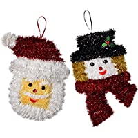 WeRChristmas Santa and Snowman Tinsel Hanging Wall Christmas Decoration - 32 cm, Multi-Colour, Pack of 2