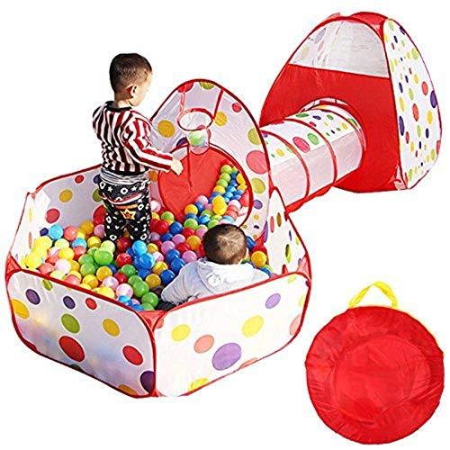 SOULONG Tende Giocattolo, Tenda per Bambini 3 in 1 Tunnel da Gioco, Indoor/Outdoor Tunnel Gioco e Play Tent, Tenda Giocattolo Tunnel Bambino Ball Pool