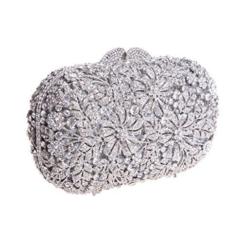 Bonjanvye Shining Rhinestone Flower Purse for Party Wedding Clutch Bags for Ladies Multicolor Silver