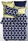 DecoKing 05576 135x200 cm Bettwäsche Kinderbettwäsche mit 1 Kissenbezug 80x80 Bettwäscheset Bettbezüge Microfaser Reißverschluss Basic Collection Marine blau dunkelblau weiß gelb grau Stahl