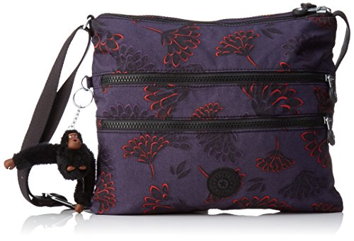 Kipling Damen Alvar Umhängetasche, Mehrfarbig (Floral Night), 33x26x4.5 cm (Floral Damen Handtasche)