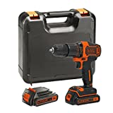 BLACK+DECKER 18 V Lithium-Ion Hammer Drill with Kit Box and 2 Batteries