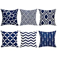 "Top Finel Decorative Throw Pillow Covers for Couch Bed Soft Canvas Solid Cushion Covers, Pack of 6 18""x18"" KD008-Navy-6"