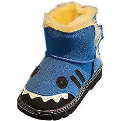 SaiDeng Unisex Bambini Calde Velcro Stivali da Neve Cotone Stivaletti Cartoon Scarpe Blu 36