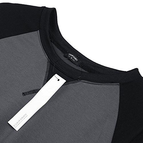 ... Coofandy Herren Langarmshirt Sweatshirt Freizeit Sport Pullover Loose  Fit Knotrastfarben mit 2-Tone Raglan Dunkelgrau ... b02c75a7cb