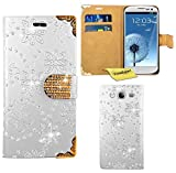 Samsung Galaxy S3 Mini Handy Tasche, FoneExpert® Bling Luxus Diamant Hülle Wallet Case Cover Hüllen Etui Ledertasche Premium Lederhülle Schutzhülle für Samsung Galaxy S3 Mini (Weiß)