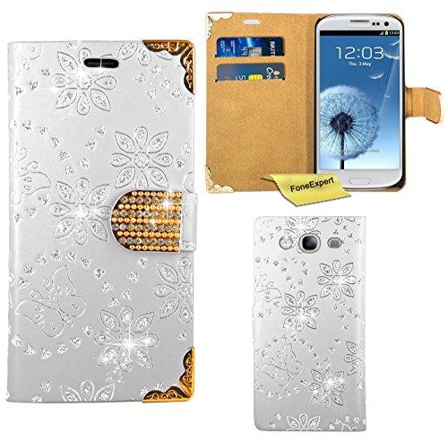 Preisvergleich Produktbild Samsung Galaxy S3 Mini Handy Tasche, FoneExpert® Bling Luxus Diamant Hülle Wallet Case Cover Hüllen Etui Ledertasche Premium Lederhülle Schutzhülle für Samsung Galaxy S3 Mini (Weiß)