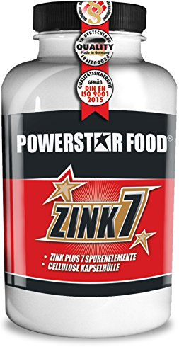 ZINK 7 - HOCHDOSIERT - Zink + 7 Spurenelemente - Testosteronmanagement - Haut & Haare - Immunsystem - Protein-Synthese - VEGAN - 120 Cellulose Kapseln à 25mg Zinc - MADE IN GERMANY