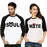 Fanideaz Valentines Gift Raglan Cotton Soul Mate Printed Couples T-Shirt
