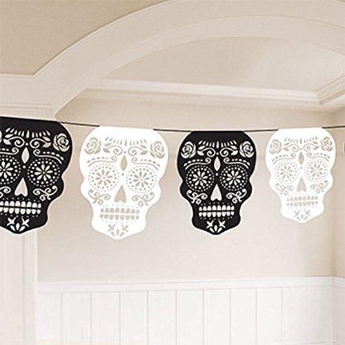 Amscan Day Of The Dead Sugar Skulls Girlande - Halloween Totenkopf Candy Sugar
