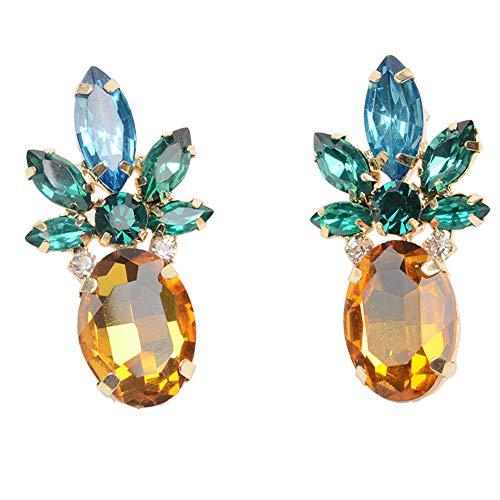Lovinda Mädchen Gold Versilbert Ohrstecker Ananas Legierung Diamant Zirkon Ohrringe Frauen Kreative Mode Ohrring Billig Schmuck für Dame Zubehör Geburtstagsgeschenk