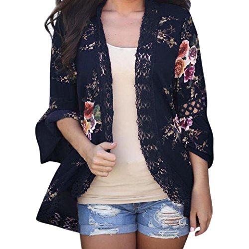 Feixiang cardigan donna elegante, giacca casual di stampato floreale chiffon kimono boho cardigan camicetta cover up maglietta da donna giacca cappotto manica lunga pizzo cardigan top
