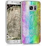 kwmobile Étui transparent en TPU silicone pour Samsung Galaxy S7 edge en multicolore rose foncé transparent Design soleil aztèque