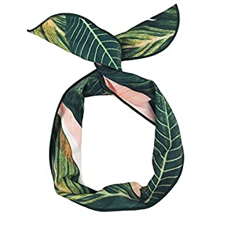 ACVIP Women Girl Bunny Ear Wire Headband Hair Band,Multi Designs (Style A--Banana Leaf 2)