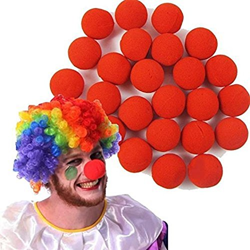 Danyoun 25 Stück Red Foam Clown Nose, Neuheit Schaum Clown Nase Zirkus Party Halloween Kostüm rot, Schaum Clown Nase für Halloween-Kostüme, Karneval und Parties Accessoires