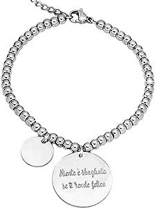 Beloved Bracciale da donna, braccialetto in acciaio emozionale - frasi, pensieri, parole con charms - ciondolo pendente - misura regolabile - incisione - argento