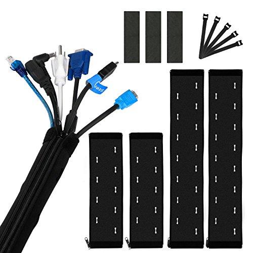 JamBer kabelmanagement 4 stück kabelschlauch kabelkanal reißverschluss neopren kabelhalter schreibtisch kabel organizer flexibler kabelhülle für TV computer audio, schützt und organisiert kabel