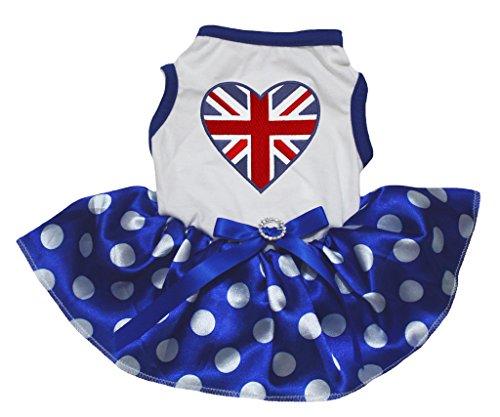 petitebelle 4. Juli Hund Kleid Großbritannien Herz weiß Baumwolle Polka Dots Blau Tutu