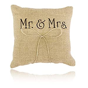 Hochzeit Ringkissen Burlap Jute Bowknot Twine Bowknot Hochzeit Ringkissen Herr Frau Ring Bearer Kissen für Hochzeit (15x15cm / 6x6in) homedeko