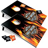 Floating Pong Harley-Davidson Flame Cornhole Set, 2x3, Wood, Lightweight, Portable, Comes With 8 Bags