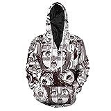 Cowesoo Lustig Ahegao Zipper Hoodie Jacke Männer Sweatshirt Plus Size Trainingsanzug