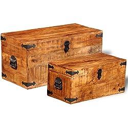 vidaXL Set 2 baúles para almacenaje de madera maciza mango