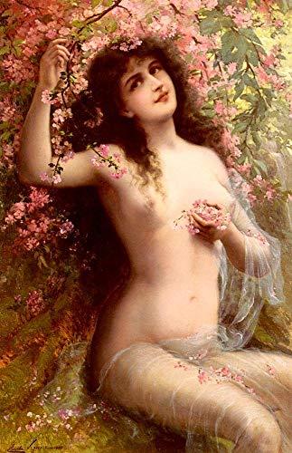 Toperfect 50€-2000€ Handgefertigte Ölgemälde - Unter den Blüten Mädchen Körper Emile Vernon Impressionistische Nacktheit Gemälde auf Leinwand - Malerei Maße09 (Esszimmer-dekorationen Unter $30)