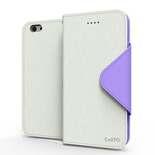 iPhone Case 6S Plus, Cellto PU Housse portefeuille en cuir Support et rabat magnétique réversible [Garantie à vie] de Flip Cover pour Apple iPhone 6S Plus - Bleu Marine / Monnaie Blanc / Violet