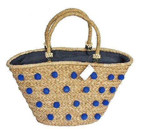 Handtasche Tragetasche aus Weide mit Pompons Blau. Geschenk für damen. Tragetasche mit blauen Sommer mit Pompons. Strand-Handtasche mit Griff und Pompons Blau Perfekt für Strand. Schöne Tragetasche aus Weide mit Innenfutter. Einkaufskorb Rattan-Strand mit Muscheln in die Griffe