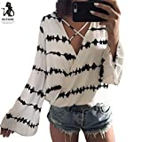 Frauen Langarm Tuniken Herbst Sommer Crop Top Mode T-Shirt Shirt Bluse Damen Sweatshirt Vintage Oberteile V-Ausschnitt Freizeit Weste Chiffon Hemden (XL, Weiß)