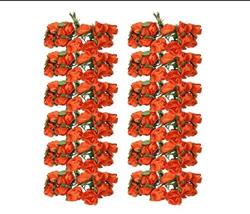 Casadeiy Approx.140pcs Mini Papier Blume Köpfe Rosenknospen Bouquets Party Favor Decor 1,5 cm (Orange) (Blumen Favor Party)