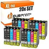 Bubprint 20 Druckerpatronen kompatibel für Epson T1631 - T1634 für Workforce WF-2010W WF-2510WF WF-2520NF WF-2530WF WF-2540WF WF-2630WF WF-2650DWF