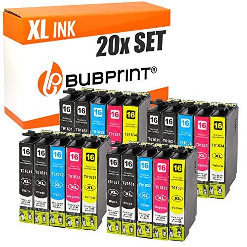 20 Bubprint CARTUCCE PER STAMPANTE compatibile per Epson T1631 - T1634 16XL WorkForce WF-2510 WF