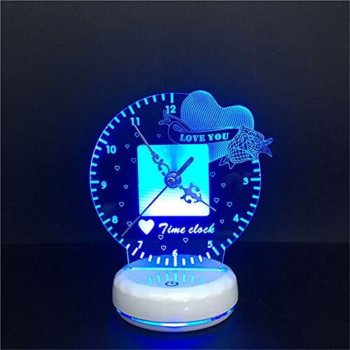 PDDXBB 3D Zeit Uhr Led Romantisches Nachtlicht Herz Ich Liebe Dich USB Fernbedienung + Touch Schalter Bunte Tischlampe Sieben Farben 210 * 170 * 40Mm (Batterieladung Fernbedienung) - Die Die Blue Haben Box Engel