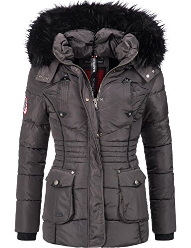 Marikoo Damen Winter Jacke Steppjacke Vanilla (vegan hergestellt) Anthrazit Gr. XL