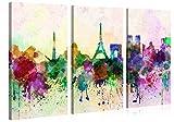 Premium Kunstdruck Wand-Bild – Paris in Abstract Watercolour Style - 120x80cm - Leinwand-Druck in deutscher Marken-Qualität – Leinwand-Bilder auf Holz-Keilrahmen als moderne Wanddekoration