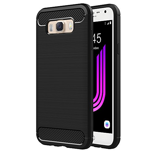 "Funda Samsung Galaxy J7 2016, AICEK Samsung J7 2016 J710F/J710FN Funda Negro Gel de Silicona Galaxy J7 Carcasa Fibra de Carbono Funda para Samsung J7 2016 5.5"""