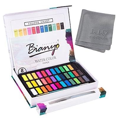 Aquarellfarben Wasserfarben set – 36 lebendige Farben + 1 Wassertankpinsel + 1 Pinsel + 8 Aquarellpapier – geeignet für Anfänger und Profis – Bianyo® von Bianyo® bei TapetenShop