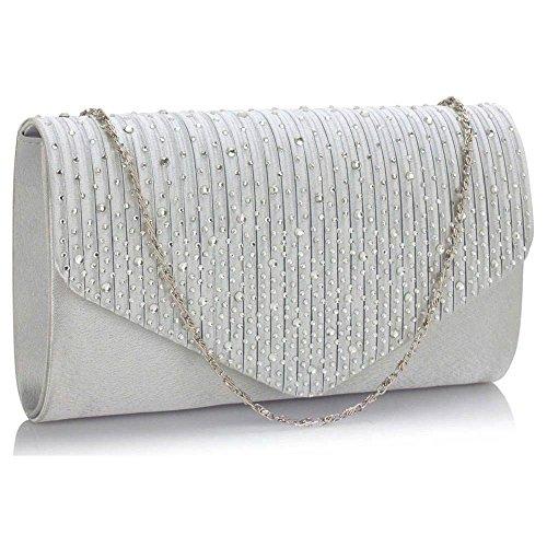 TrendStar Frauen Stilvoll Prom Party Hochzeit Taschen Damen Abend Kupplung Handtasche Satin Silber 1
