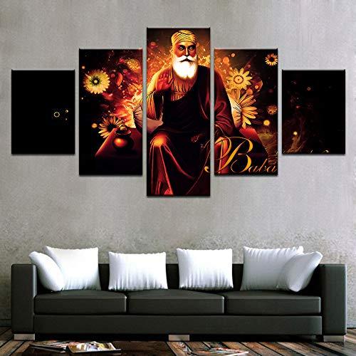 Mddrr Wandkunst Bilder Home Decor Für Wohnzimmer Poster Rahmen 5 Stücke Hd Gedruckt Indien Tibetischen Buddhismus Guru Nanak Leinwand Malerei Poster