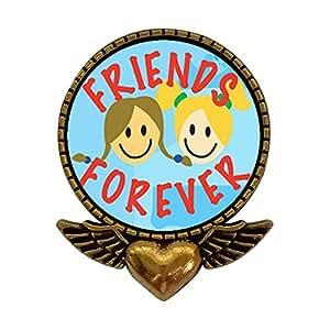 GiftJewelryShop stile antico, placcato oro, Forever, per foto a forma di cuore con ali di angelo dell'amicizia con spilla da balia