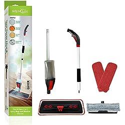 Balai Vaporisateur 2 en 1 avec nettoyage de vitres - Flacon de 600 ml rechargeable avec lingette en microfibre réutilisable - pour vinyle sec et humide, parquet en bois ou laminé, nettoyage de sols en
