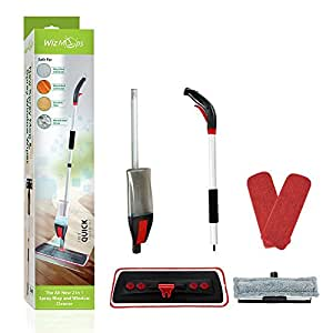 Spray Mop & Window Cleaner Kit | 2 x Reusable Microfibre Pad with 600ml Refillable bottle | for Hardwood, Laminate, Wood, Wet and Dry Vinyl & Tiles Floor Cleaning | Safer than steam mops