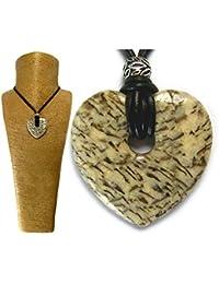 Beige gris topo Graphic feldespato. Corazón colgante collar único tamaño grande Gemstone libre caja de regalo by Diosa joyas # 9