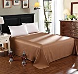 WOLTU BW5003br, Tagesdecke Bettüberwurf Bettlaken Betttuch Haustuch Sofaüberwurf Ohne Gummizug Decken Überwurf Plaid 100% Baumwolle 240x250 cm Braun