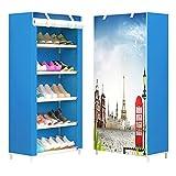 TZAMLI 6-lagiger staubgeschützter Schuhschrank Dicker Nicht Gewebte Schuhregal Multifunktionaler Kombination Schuhschrank Lagerung Möbel (Paris Himmel)