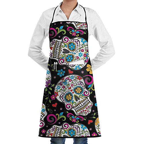 HiExotic Eco-Friendly Flower Sugar Skull Apron with Pockets Locked for Cooking Baking Crafting Gardening BBQ (20.5 X 28.3 Inches)